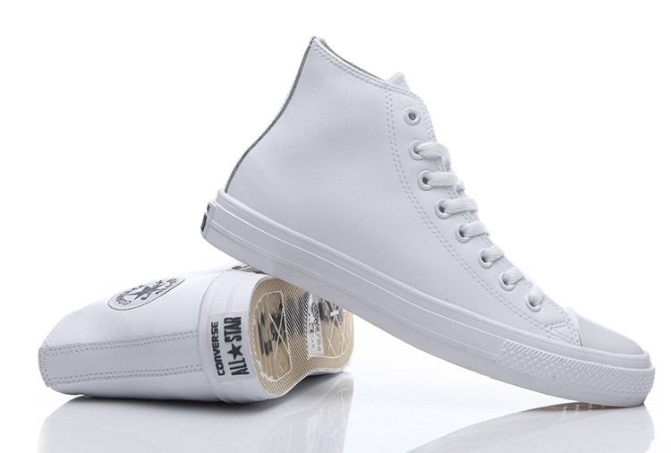397cdce7dbe Converse Chuck Taylor II All Star White Leather High Tops Clear Sole Shoes # converse #shoes