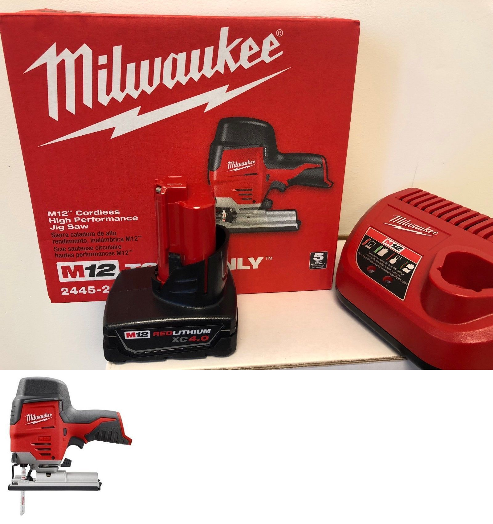 Jig and Scroll Saws 122834: Milwaukee 2445-20 M12 Cordless Jig Saw + (1)  4.0Ah Battery + (1) Charger -> BUY IT NOW ONLY: $129.99 on #eBay #scroll  #milwaukee ...