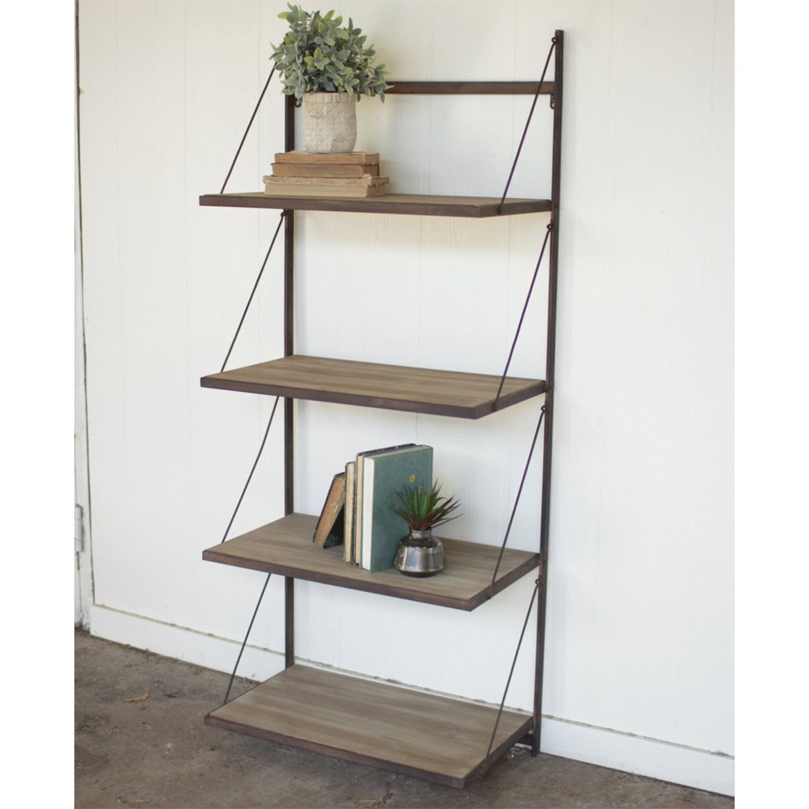 Wall Mounted Suspension Shelves | Dave's Desk | Rustic wall