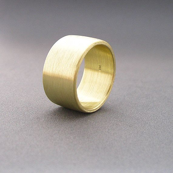 14k Solid Yellow Gold Band 12mm Wide Ring Plain By Pyxisjewelry 1200 00 Brushed Gold Wedding Band Yellow Gold Jewelry Gold Bands