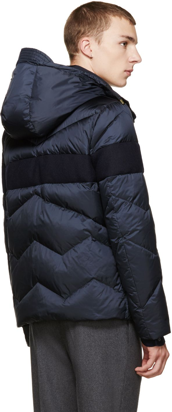 03bab4ba3 Quilted down jacket in navy. Concealed zipper closure at front in ...