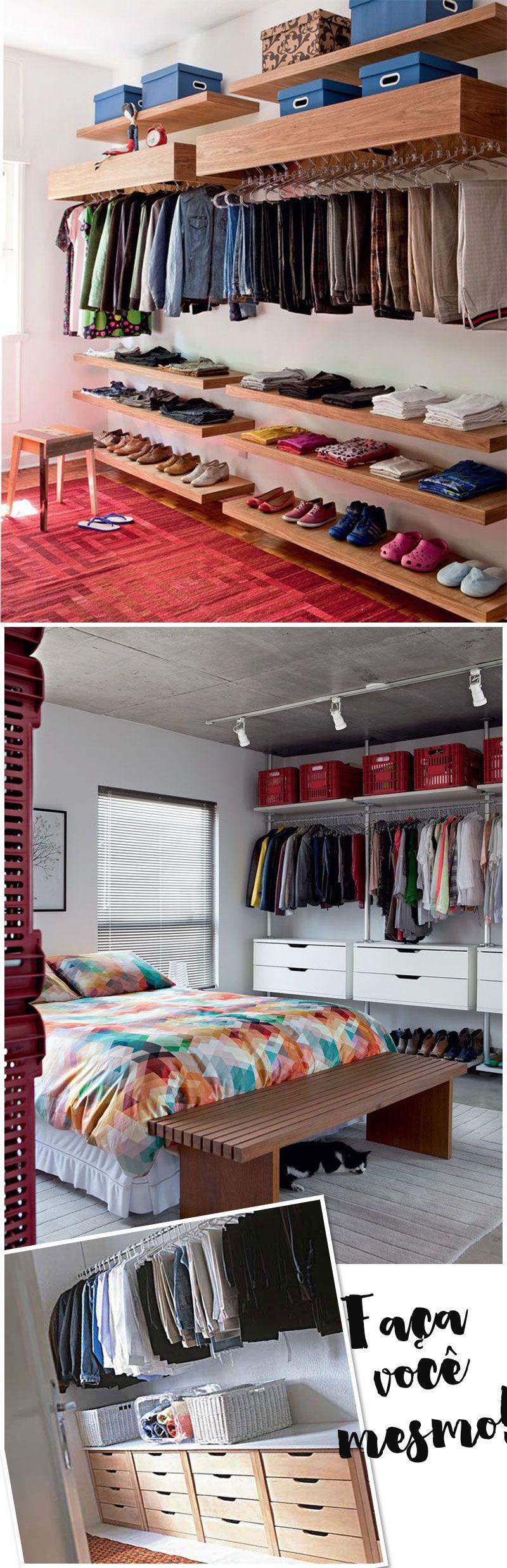 Closet Muitas Ideias Pra Montar O Seu Como Fazer Um Closet  ~ Decoração De Quarto Criativo E Closet No Quarto Pequeno