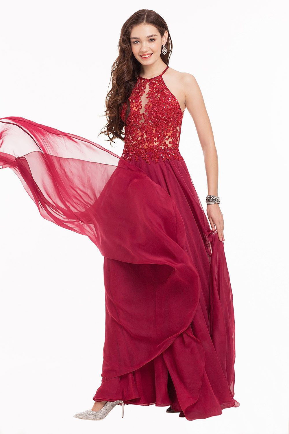 Fiona Dress Halter Neck Wine Fit Flare Long Prom Dress Glam