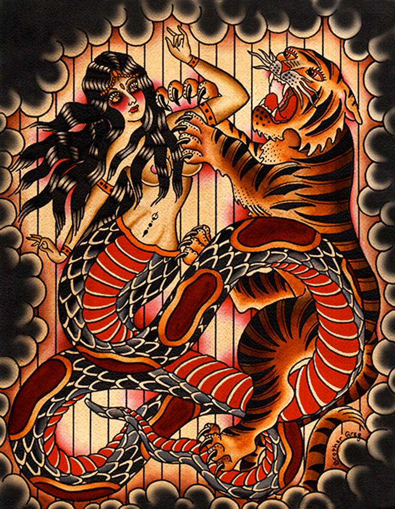 Naga & Tiger by Brother Greg Serpent Snake Woman India Tattoo Canvas Art Print  | eBay