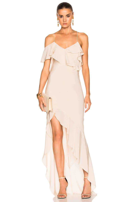 Michelle Mason Asymmetrical Ruffle Gown In Bisque Fwrd