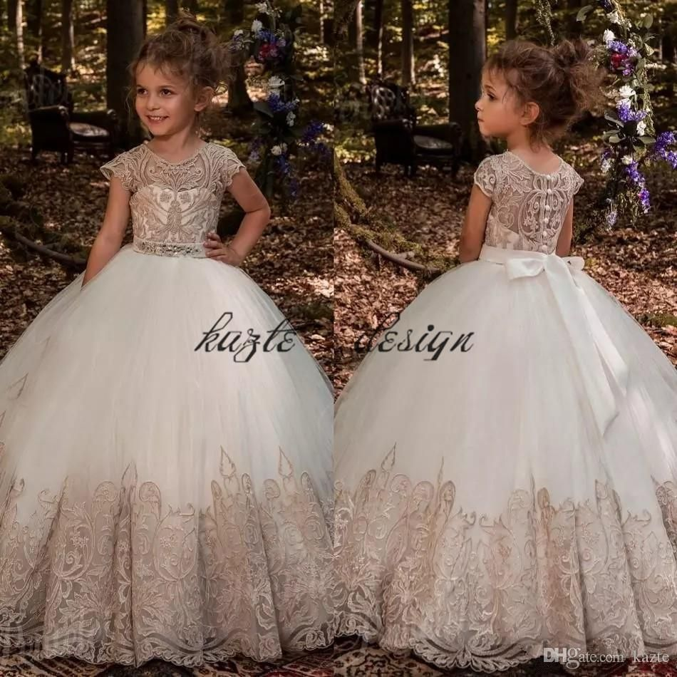 Champagne lace lash cute flower girls dresses custom make