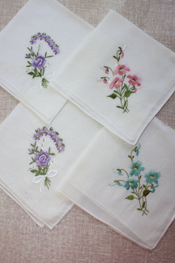 Four Vintage Ladies Handkerchiefs With Flowers By Coffeeklatch