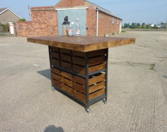 Industrial Rustic Pine Kitchen Island Breakfast Bar Table With