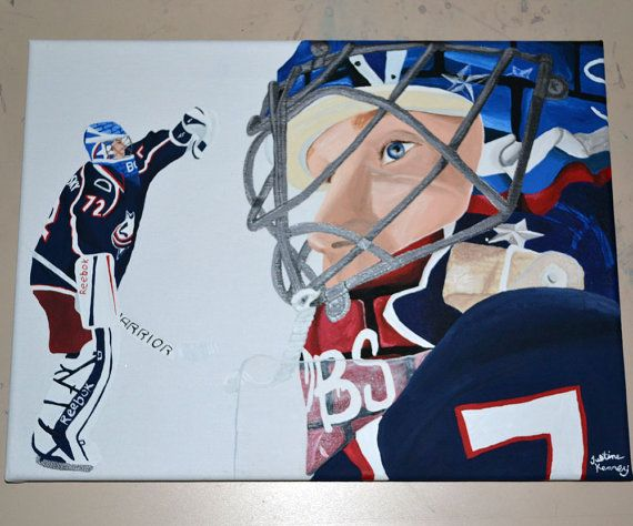Olympic Sale Sergei Bobrovsky Columbus Blue Jackets Team Russia Sochi Goalie Painting Hockey by 21CannonSalute, $117.00
