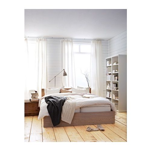 Malm Bed Frame High White Stained Oak Veneer Luroy Queen