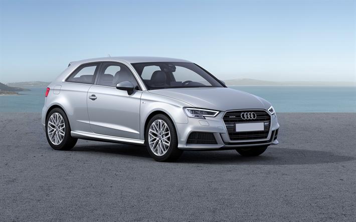 Download Wallpapers Audi A3 2017 4k Hatchback Silver A3 New Cars German Cars Audi Besthqwallpapers Com Audi A3 Sportback Audi A3 Audi