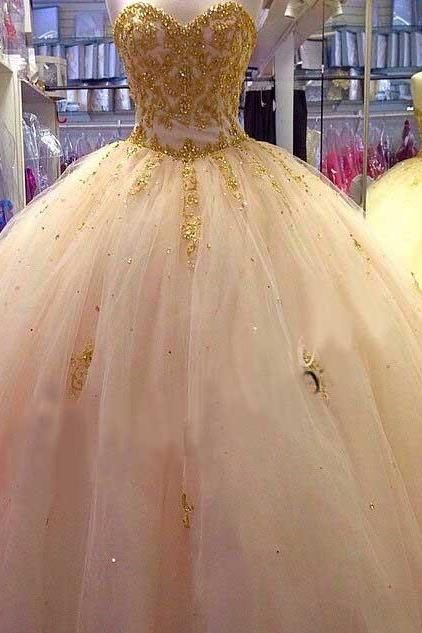 a0fe5d30248 Beautiful Gold Applique Ball Gown Quinceanera Dresses Sweetheart Tulle  Puffy Prom Pageant Dresses for 15 16 Years.
