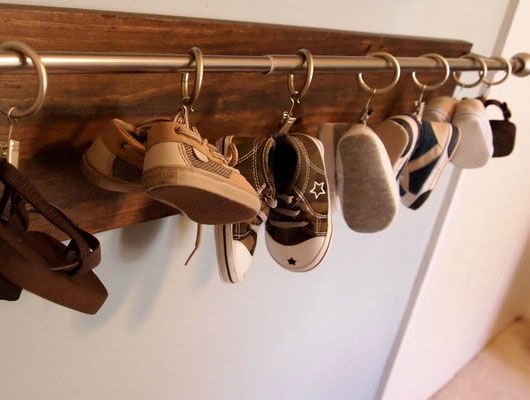 Click Pic for 32 DIY Shoe Organizer Ideas - Curtain Rail for Babys ...