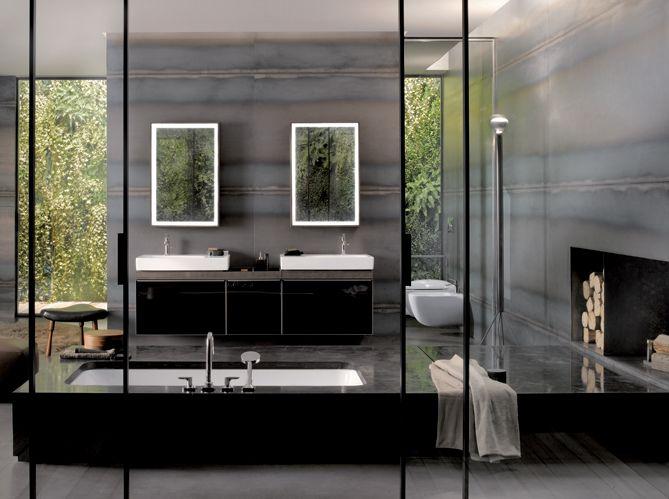 Salle de bain noir et blanc allia Salle de bains Pinterest