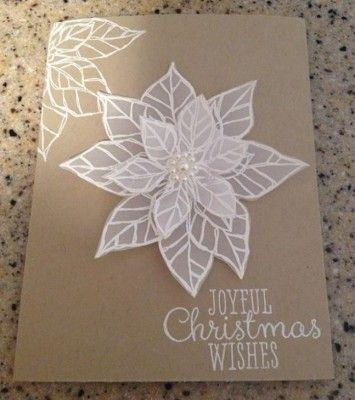 Beautiful embossed Christmas card using Joyful Christmas  set by Stampin Up
