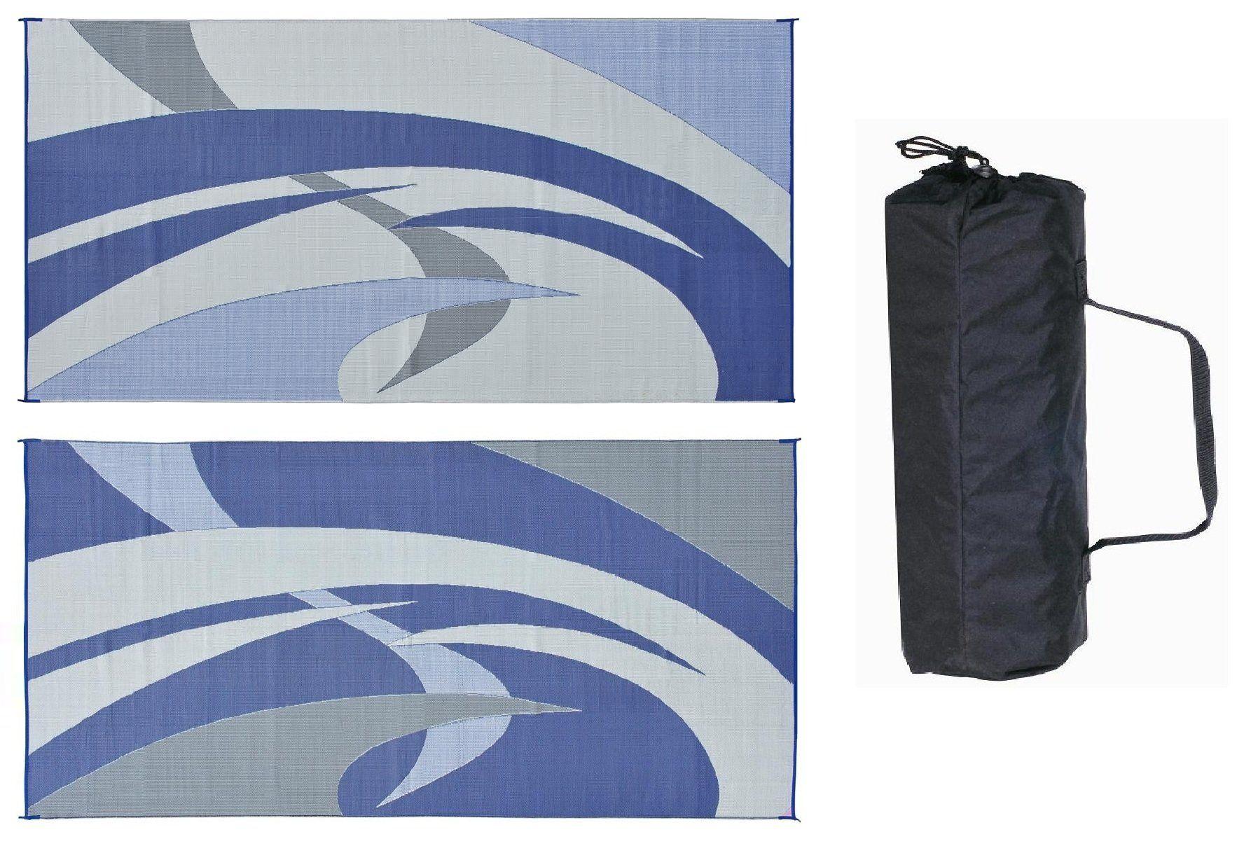 Reversible Mats Blue Grey 9x18 RV Patio Mat You can