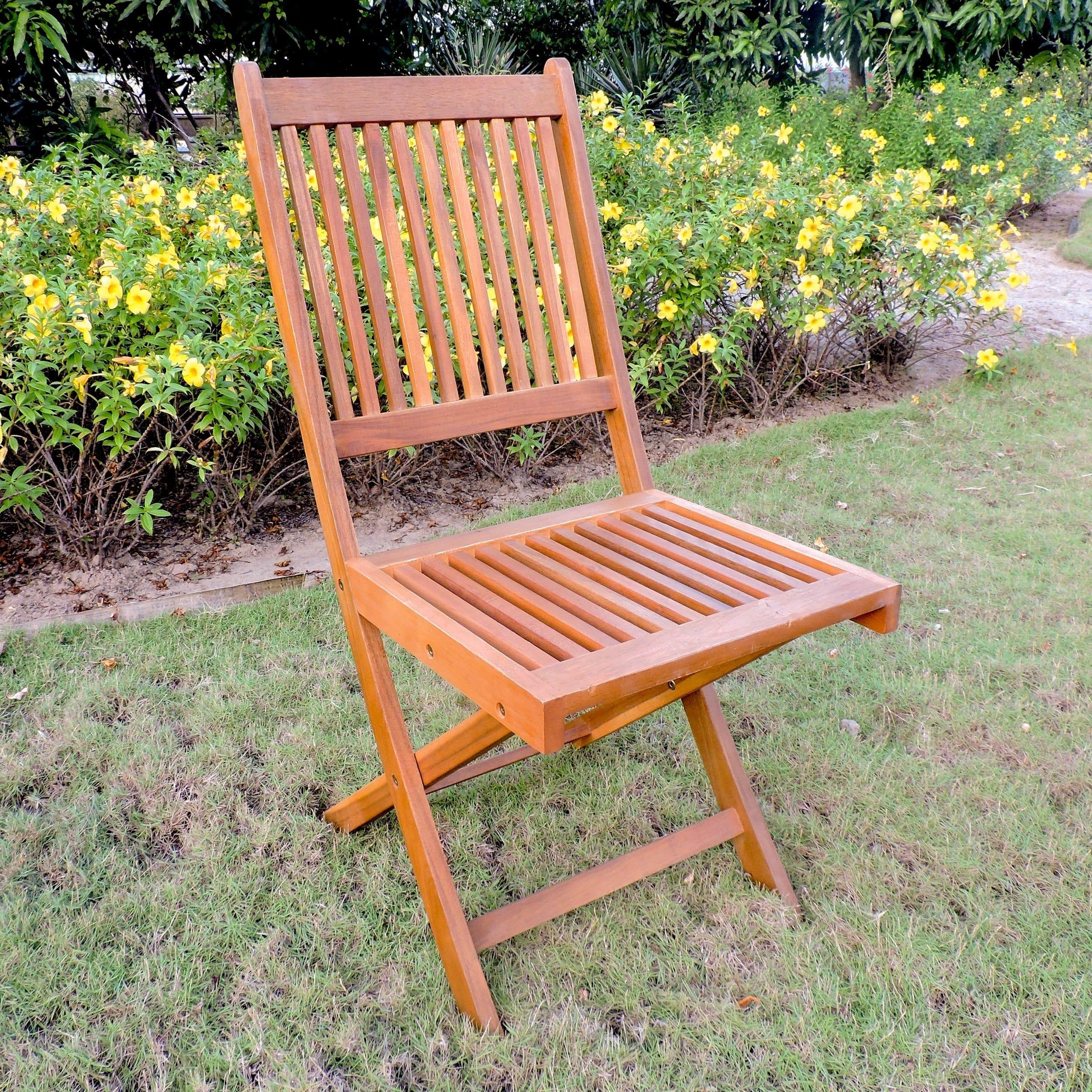 Pleasing International Caravan Royal Fiji Acacia Folding Dining Chair Evergreenethics Interior Chair Design Evergreenethicsorg