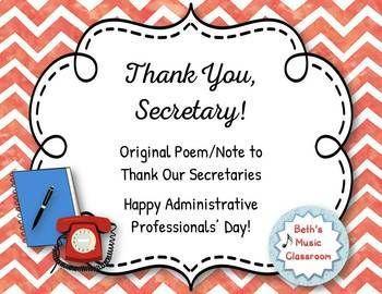 Thank You, Secretary! Original Poem/Note - Administrative ...
