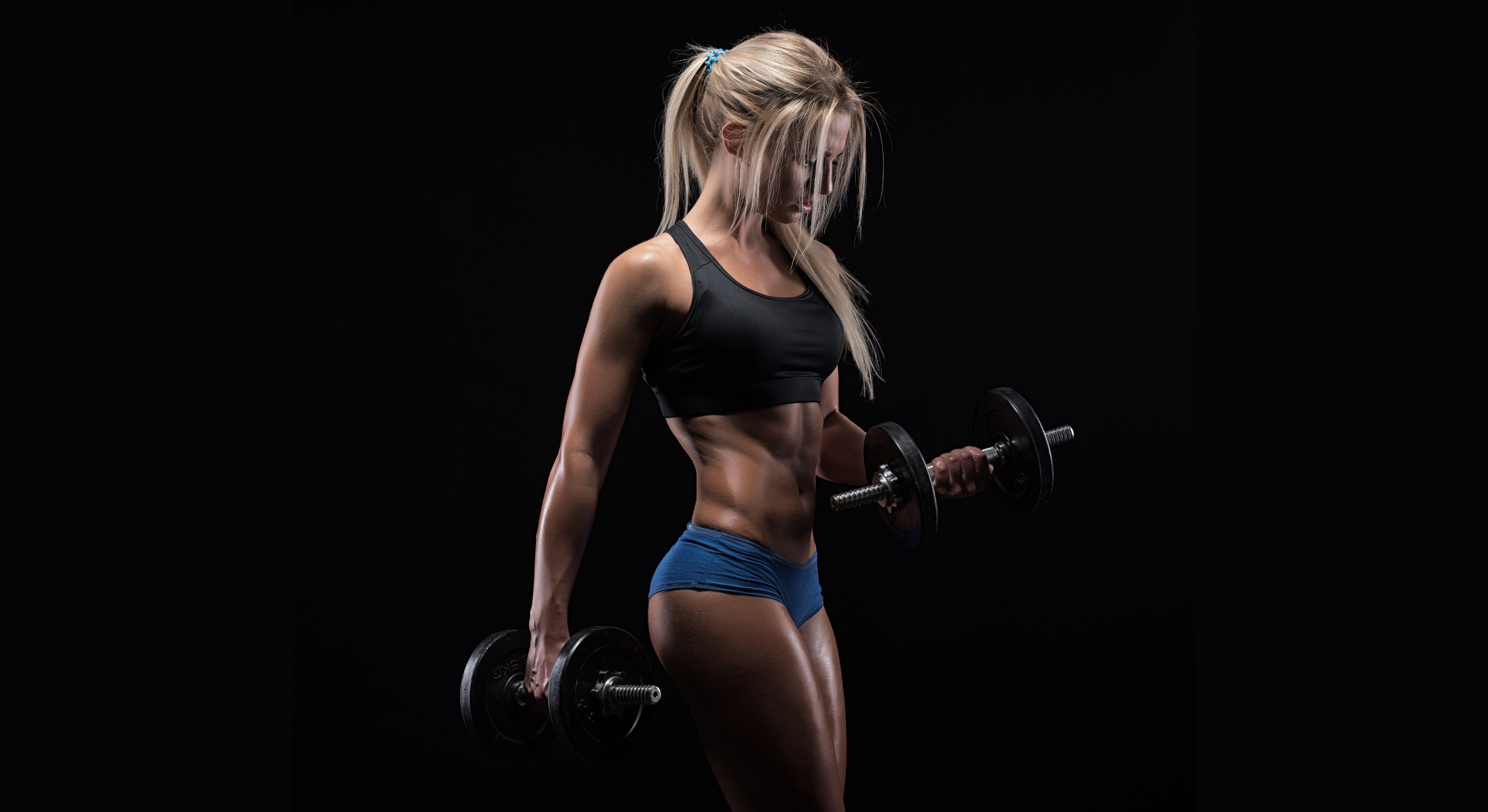 women's black sports bra #figure #muscles #blonde #pose #workout #fitness #dumbbells #8K #wallpaper...