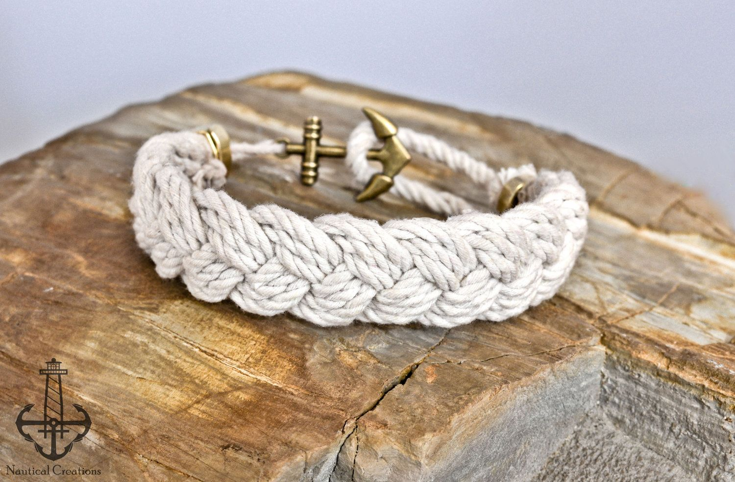 Turk S Head Knot Nautical Bracelet With Anchor Clasp White