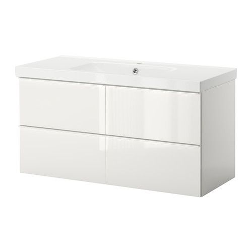 Ikea High Gloss White Cabinets Ikea White Gloss Cabinet: GODMORGON/ODENSVIK Sink Cabinet With 4 Drawers