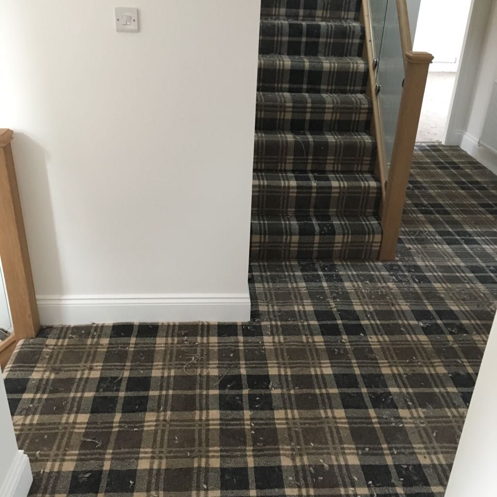 Best Black Tartan Carpet Supplied And Fitted On Hall Stairs 400 x 300