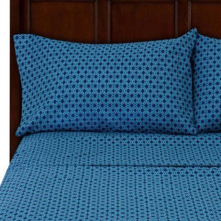 Mainstays Microfiber Patterned Sheet Set Blue Products In 60 Classy Blue Patterned Sheets