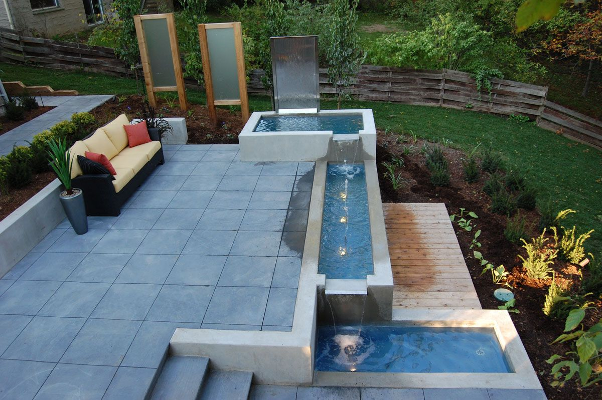 Beautiful backyard water features for landscaping ideas modular waterfall fountain for backyard water features with patio pavers and outdoor sofa plus