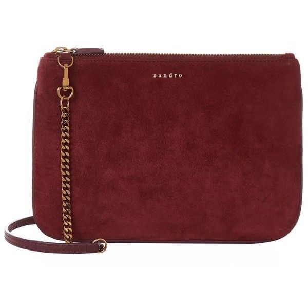 cee5d794dae8bd Sandro Addict Suede Cross Body Bag (€205) ❤ liked on Polyvore featuring bags,  handbags, shoulder bags, red crossbody, red crossbody purse, chain purse,  ...