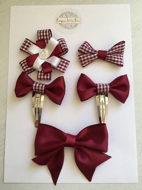 Maroon School Uniform Plaid Bow Pigtail Mini Set