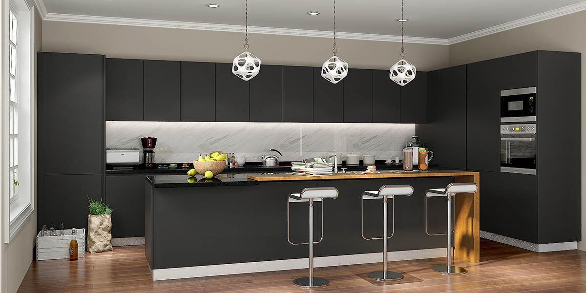 Op16 L14 Modern Stylish Black Matte Lacquer Kitchen Cabinet Wooden Kitchen Cabinets Latest Kitchen Designs Wooden Kitchen