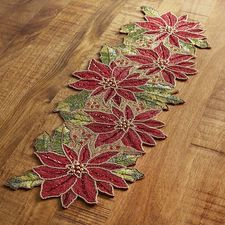 Poinsettia Beaded 36 Table Runner Table Runners Christmas Table Cloth Christmas Table Linen