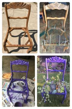 Before and after chair with succulents!