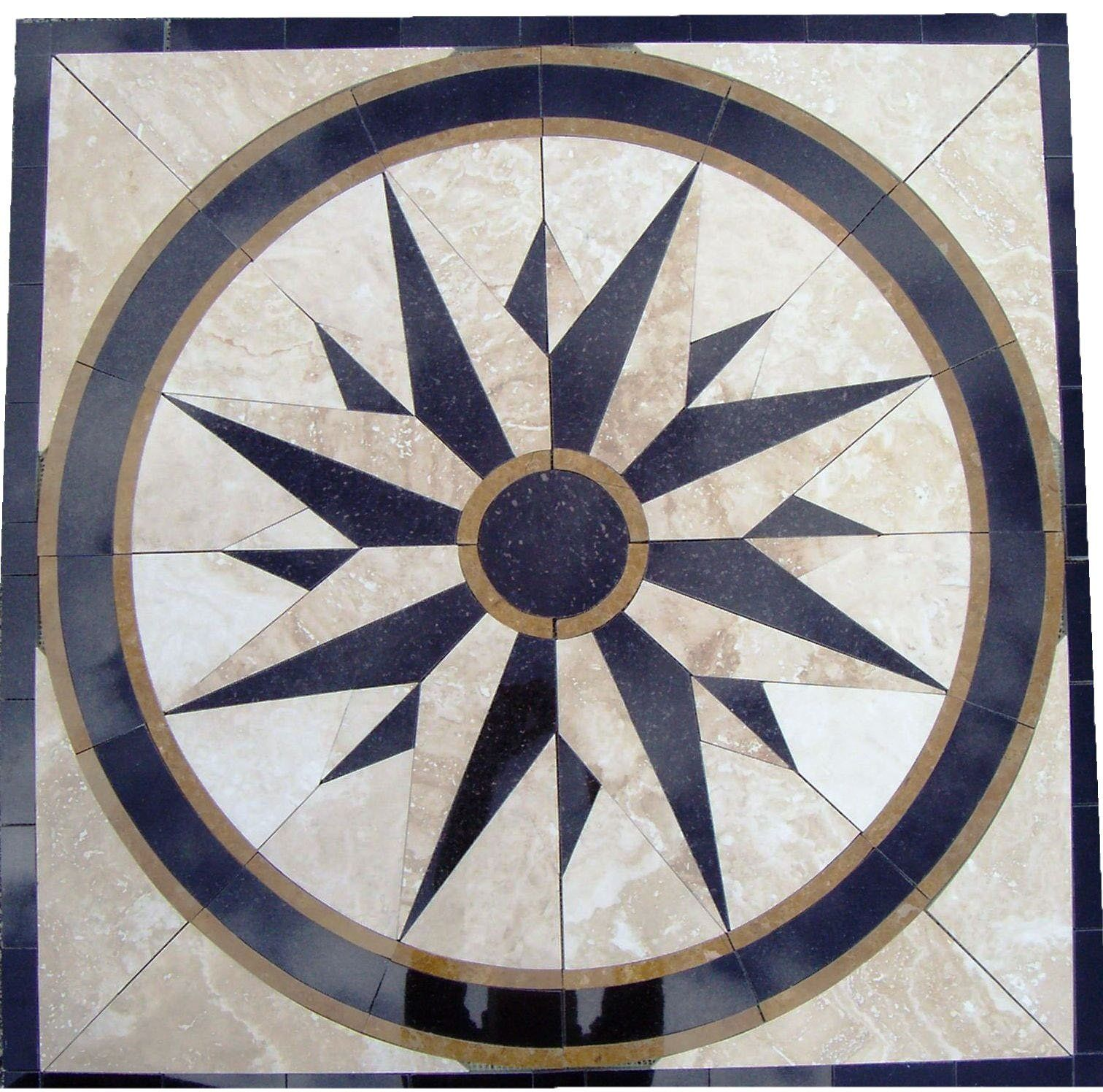 Circular Marble Inlay Flooring : Tile floor medallion marble mosaic north star design