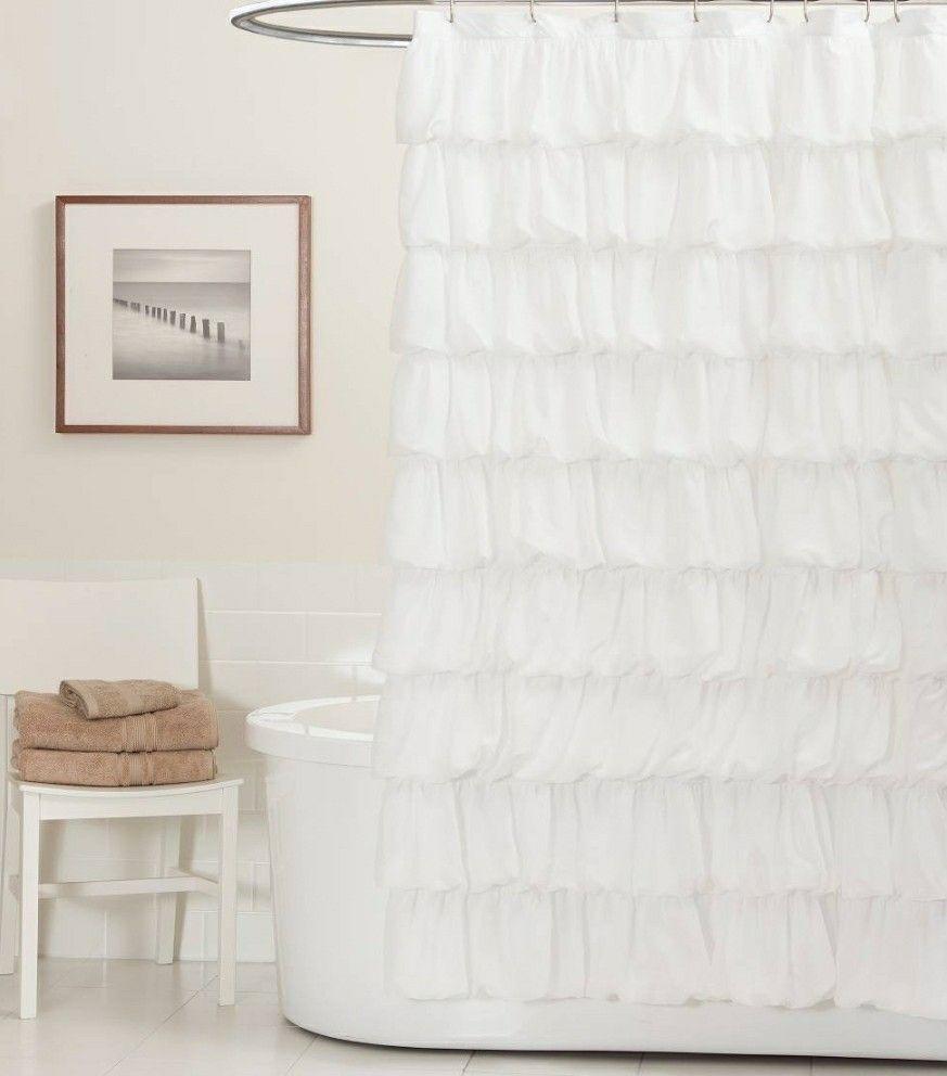 White Ruffle Shower Curtain Target P Ripple