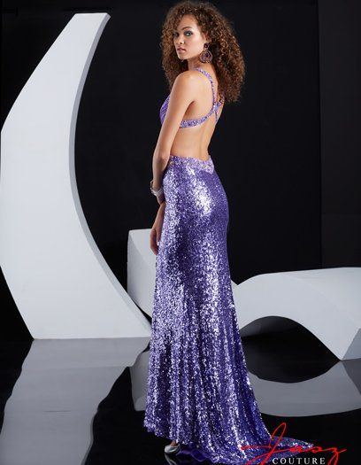 Long and sexy purple sequin backless prom dress 2015 featuring ...
