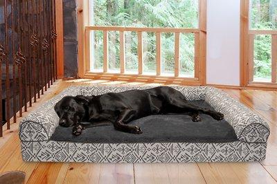 Furhaven Southwest Kilim Orthopedic Bolster Cat Dog Bed Boulder Gray Jumbo Plus Chewy Com Dog Bed Furhaven Cool Dog Beds