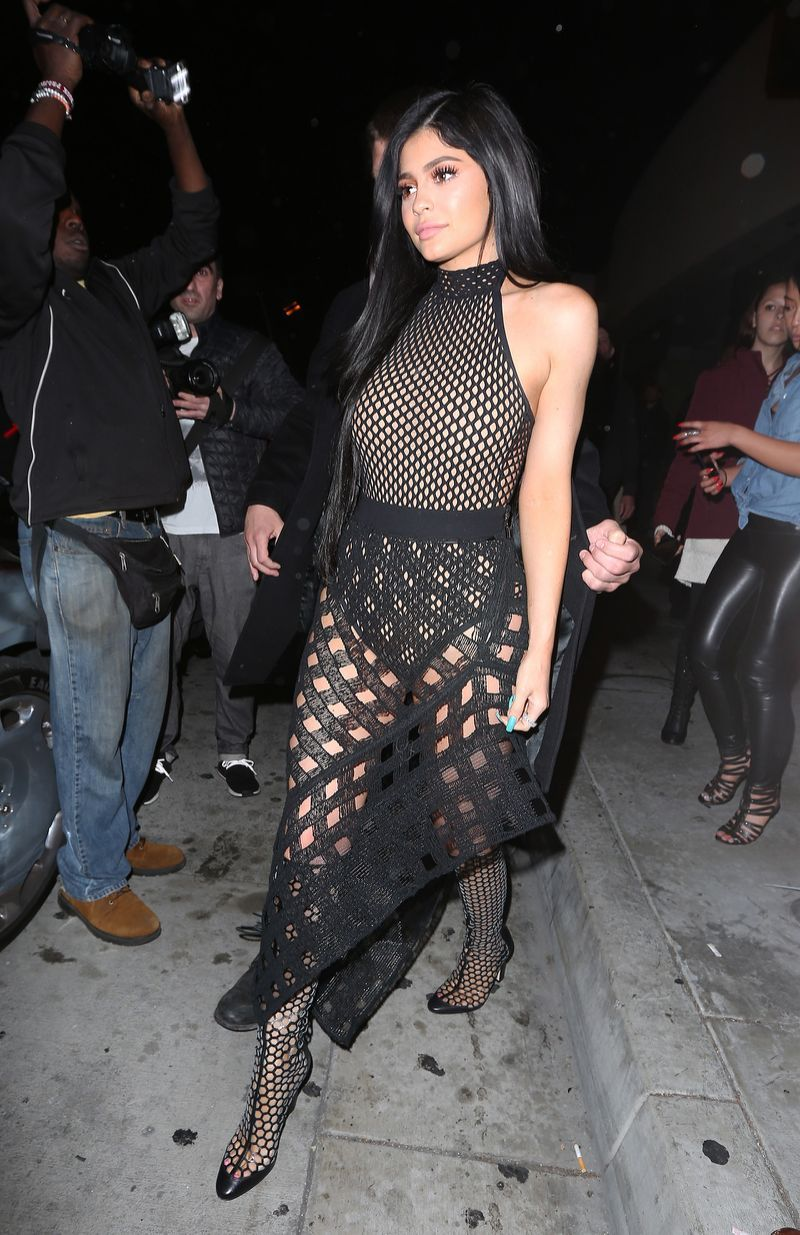 24edb1f14ea5 Kylie Jenner Shows Off Curves in See-Through Mesh Ensemble