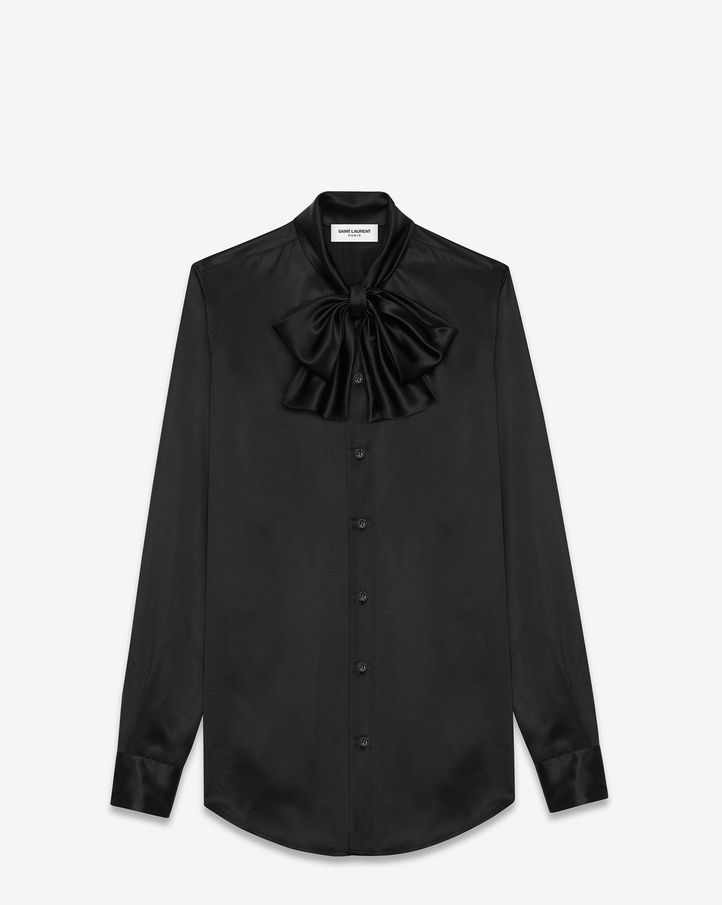 08c1d0709ba SAINT LAURENT LAVALIERE SHIRT IN BLACK SILK $ 1,190.00 | Personal ...