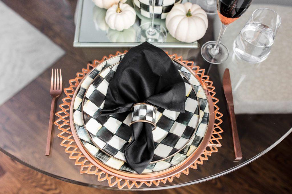 Halloween Inspired Table Setting Table settings - halloween desk decorations