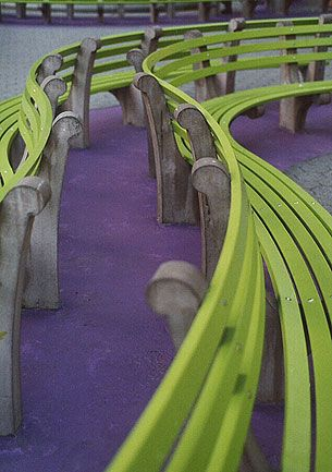 A green bench in New York City