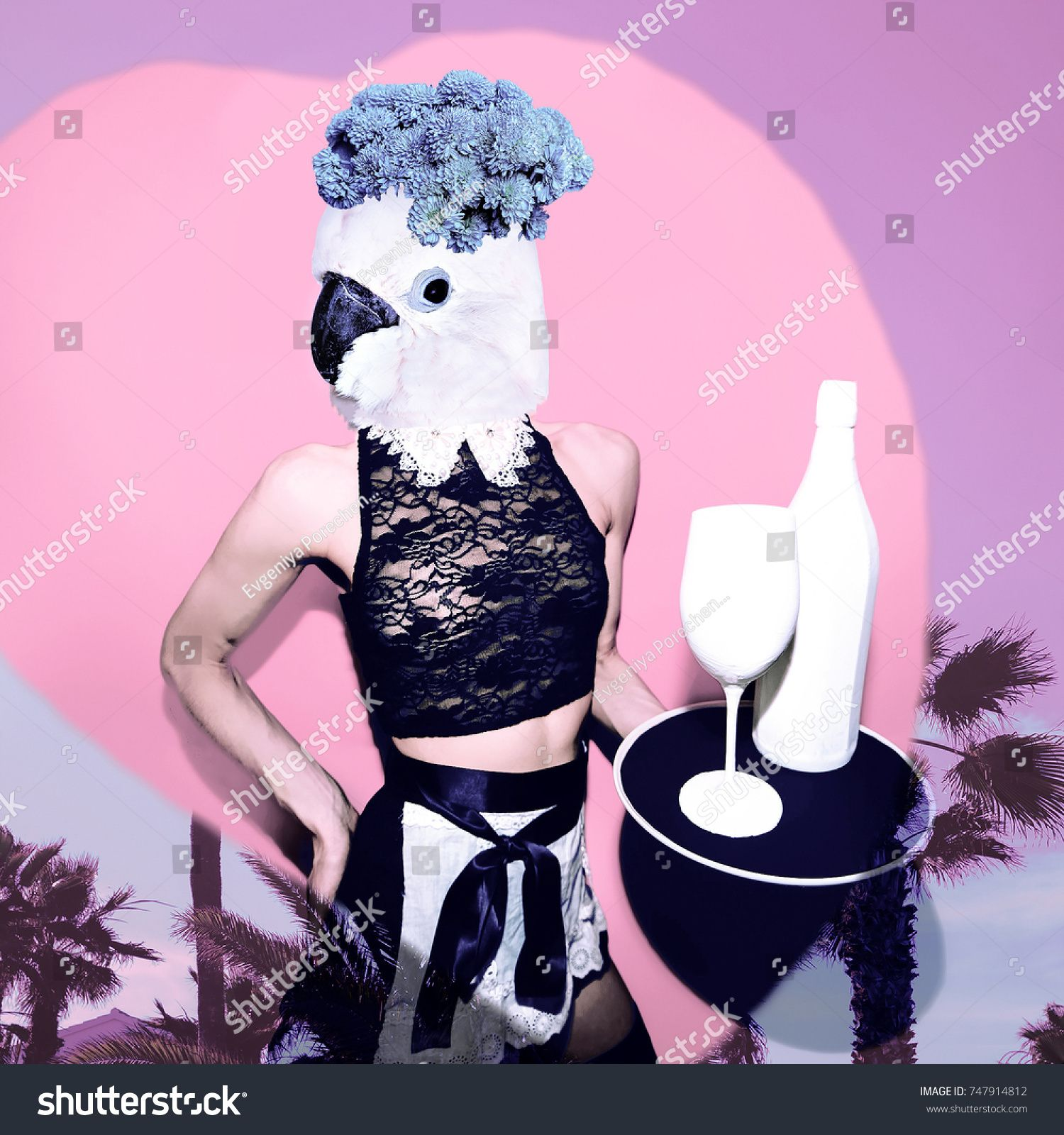 Contemporary art collage. Tropical parrot waitress. Concept my unicorn life ,