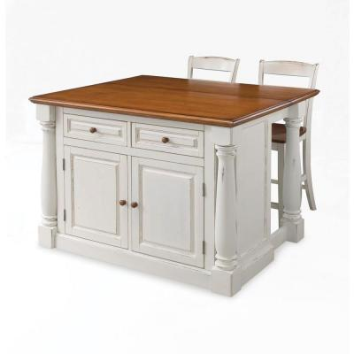 Homestyles Monarch White Kitchen Island With Seating 5020 948