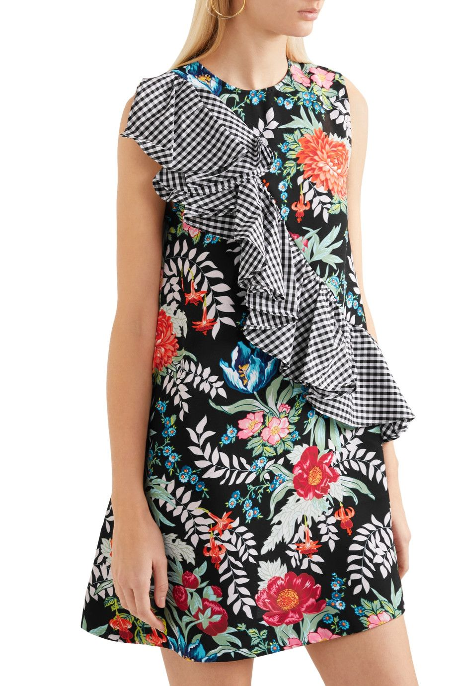 Ruffled printed cotton-poplin and crepe mini dress   HOUSE OF HOLLAND    Sale up to 70% off
