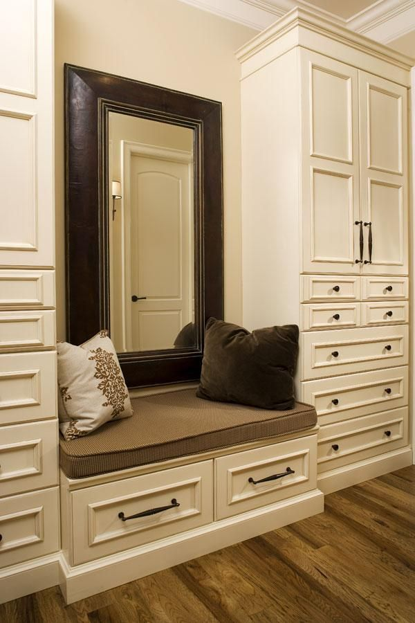 Walk In Closet With A Cushioned Bench Small Bedroom Remodel Master Bedroom Remodel Small Remodel