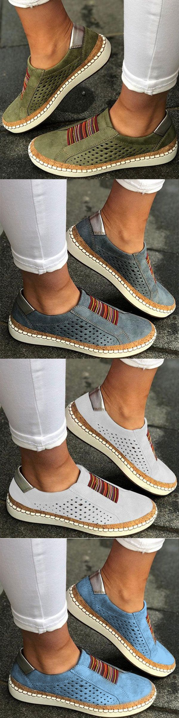 cd47f4b12 Large Size Women Comfortable Hollow Out Splicing Flat Loafers#sale ...