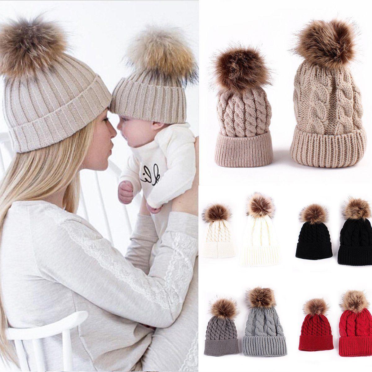 5964fd0df 2PCS/Set Mother & Kids Warm Knit Crochet Fur Ball Beanie Cap ...