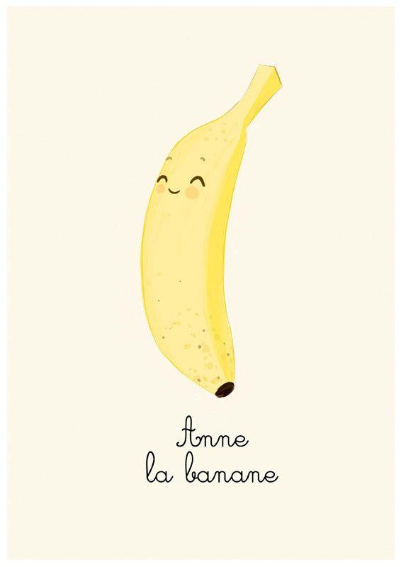 Www Etsy Com Uk Shop Lesjouesgrises Banana Art Banana Wallpaper Fruits Drawing