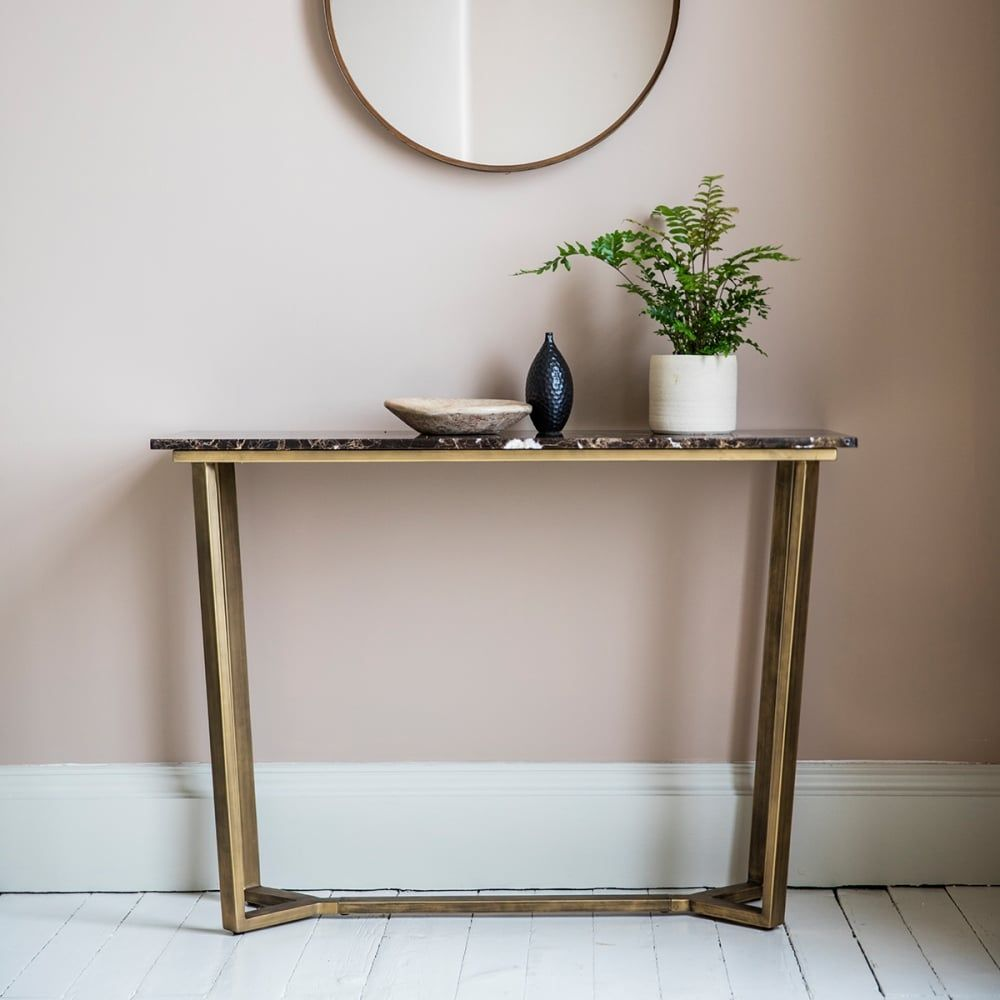 Modern hallway storage gold console table gold metal console table - Gatsby Contemporary Marble Console Table Brown And Gold
