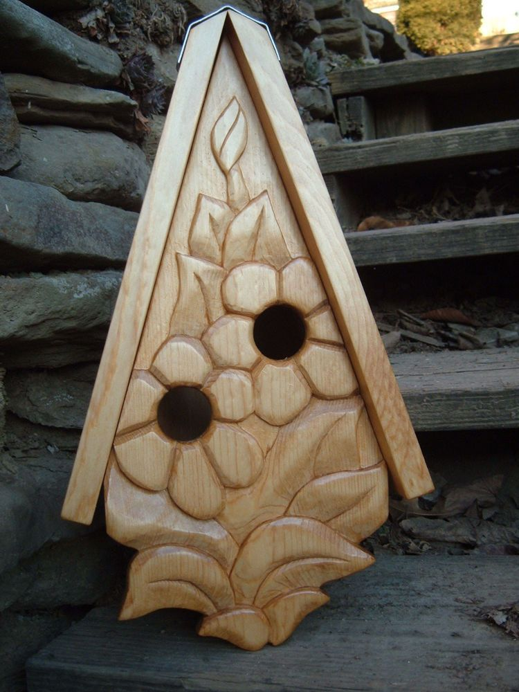 Bird House Hand Carved Flowers Wood Spirit